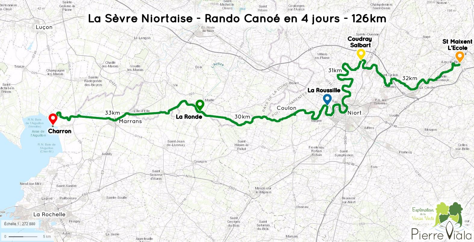 Carte Descente de la Sèvre Niortaise Ranonnée Canoe 4 jours 126km